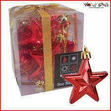 Christmas Tree Decoration - 10 Pack 60mm Star Baubles - Red