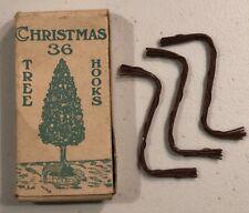 Rare Vintage Antique 36 Christmas Tree Ornament Hooks In Original Box Copper