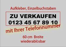 Sticker ZU VERKAUFEN + Telefonnummer Aufkleber Auto Folie Text Sale Euro Tel