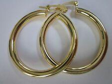 14 karat gold plated 35mm wide thick lightweight hoop earring sale