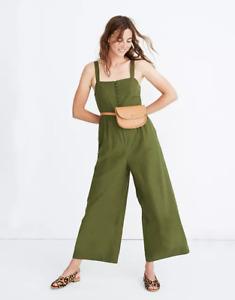 MADEWELL WOMEN'S GREEN WIDE LEGS BUTTON-DOWN LINEN/COTTON JUMPSUIT Sz 12