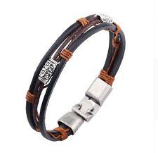 Men's Casual Relief Flower Design Alloy Leather Rope Bracelet Jewellery Gift UK