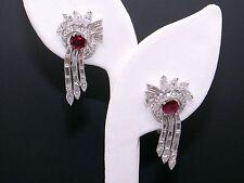 Platinum 4.52ct Oval Ruby Round Diamond Flower Swirl Chandelier Dangle Earrings