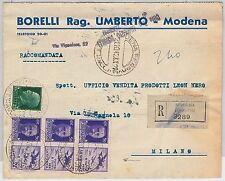 ITALIA REGNO storia postale: PROPAGANDA GUERRA su BUSTA RACCOMANDATA da MODENA