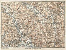 Carta geografica antica UMBRIA UMBERTIDE GUBBIO NOCERA TCI 1923 Old antique map