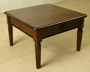 Solid Mahogany Wood Square Coffee Table Antique Colonial Reproduction Design