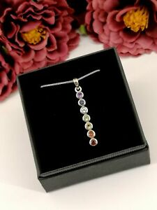 Sterling Silver 7 Chakra Crystal Point Necklace