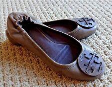 TORY BURCH Reva Logo Tumbled Scrunched Leather Ballet Flat 8.5 $225 Royal Tan
