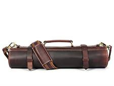 Leather Knife Roll Storage Bag |Travel-Friendly Chef Knife Case Roll Walnut