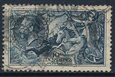 GB 1934 SG452 KGV 10/- INDIGO SEAHORSE FINE USED Re-engraved Issue