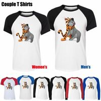 Cute Disney Tigger & Eeyore Design Couple T-Shirt Men's Women's Graphic Tee Tops