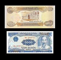 1,000 New Iraqi Dinar & Free 5,000 Vietnam Dong - New Uncirculated - Lot 1 Each
