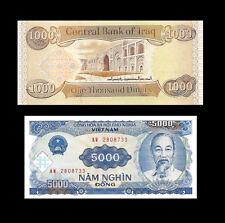 1,000 New Iraqi Dinar & Free 5,000 Vietnam Dong - New Uncirculated - Lot 1 Each