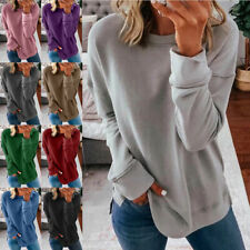 Womens Casual Long Sleeve T Shirt Round Neck Tops Loose Blouse Solid Tunic