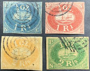 PERU 1857 von Fournier ? 2 R. grün, 1 R blau, 1 R rot und 1/2 R orange