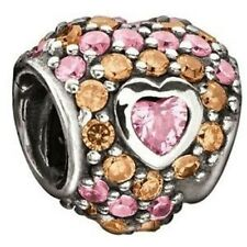 Chamilia Element 'Jeweled Heart in Heart' Pastel Pink/Orange CZ Bead 2025-0673