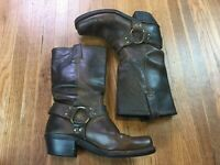 FRYE Womens Harness Brown Leather Boots Sz 7 Motorcycle Riding Cowgirl High Boot