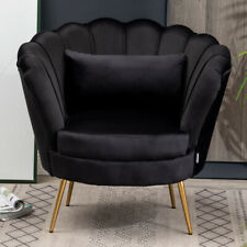Upholstered Velvet Black Scallop Lotus Tub Chair Lounge Armchair Sofa Metal Legs