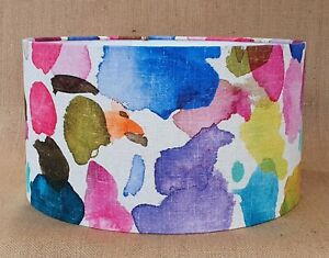 Handmade Bluebellgray PORTREE abstract watercolour drum lampshade 15cm 40cm