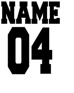 IRON on TRANSFER SMALL PERSONALISED   JERSEY SPORT FOR LIGHT FABRIC 8x10cm
