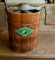Antique White Mountain Ice Cream Freezer wood bucket crank triple motion