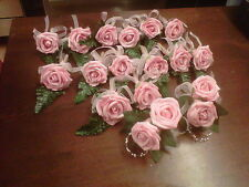 wedding flower buttonhole rose package 14 single & 2 doubles shabby chic