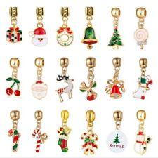 Fashion Enamel Christmas Gold Plate Alloy Charm fit European DIY Bracelet Making