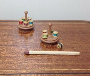 1/12th Scale Cotton Reel Holder & Cottons (1 only), by McQueenie Miniatures.