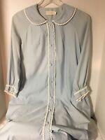 Vintage Barbizon Light Blue Robe with White Ric Rac Trim on Collar Sleeves Front