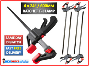 """4 x 600mm 24"""" Wood Working Bar F Clamp Grip Ratchet Quick Release Squeeze (9-20)"""
