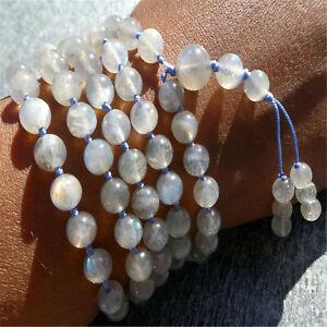 Natural Blue-Firing Labradorite 108 Beads Tassel Knotted Necklace Bless Healing