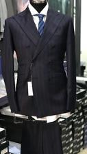 Navy double breasted pinstripe super 150 Cerruti wool suit/wide peak lapel