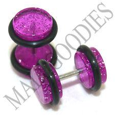 1172 Fake Cheater Illuion Faux Plugs Gauges Purple Violet Glitter 0G Look 16Gbar
