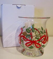 Lenox Hand Painted Glass Ribbons & Holly Vase in Box