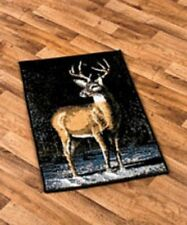 "22"" x 36"" Wildlife Accent Rug Winter Buck Rug Cabin Lodge Northwoods Accent Rug"