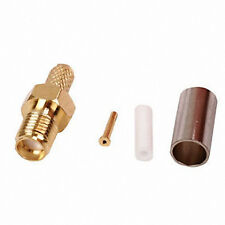 SMA Female Crimp Socket  female Connector Gold Plated Pack 2