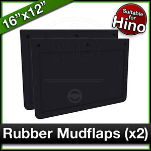 """HINO FS FY TIPPER 16"""" x 12"""" 410x305mm Truck Lorry RUBBER MUDFLAPS Mud Flap PAIR"""