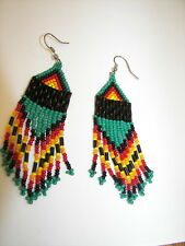 "Seed  Bead  Earrings NEW Navaho style Bright colored Handmade 3 1/2 x 1""  wow"