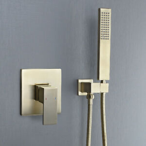 Brushed Gold Mixer Hot And Cold Valve Faucet Hand Shower Set Wall Mounted Brass