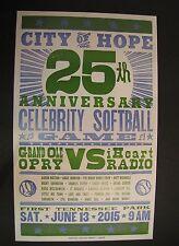 City of Hope Celebrity Softball 2015 Nashville Hatch Show Print Poster iHeart