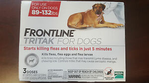 Frontline TRITAK Flea & Tick for dogs 89-132 lbs Red 3-dose replaces Certifect