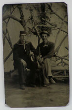 Vintage Tintype Photo Victorian c1870's sailor in uniform and man with hat