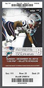 AARON HERNANDEZ FINAL GAME - 2012 NFL NEW ENGLAND PATRIOTS FULL TICKET - DEC 30