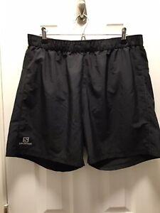 Salomon Advanced Skin Active Dry Black Running Shorts Mens Size XL Drawstring