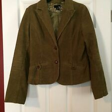 LOOK!!  H & M  OLIVE GREEN CORDUROY BUTTON FRONT JACKET!  SZ 8