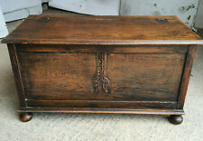 More details for antique,edwardian,small,oak,blanket box,ottoman,chest,bun feet,bed end,trunk,bed