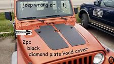 Jeep Wrangler TJ 2pc black Diamond Plate Hood Cover no Washer Fluid Hole cut