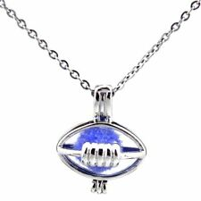 K477 Silver Rugby American Football Beads Cage Boys Sports Locket Necklace 18""