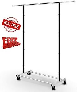 Heavy Duty Commercial Garment Rack Rolling Collapsible Clothing Shelf Chrome NEW