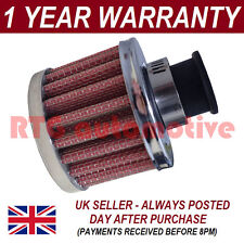 9mm AIR OIL CRANK CASE BREATHER FILTER FITS MOST CARS RED & CHROME ROUND